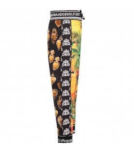 Black boy sweatpant with colorful ''Hawaii'' theme