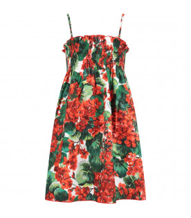 DOLCE & GABBANA KIDS White girl dress with red geraniums