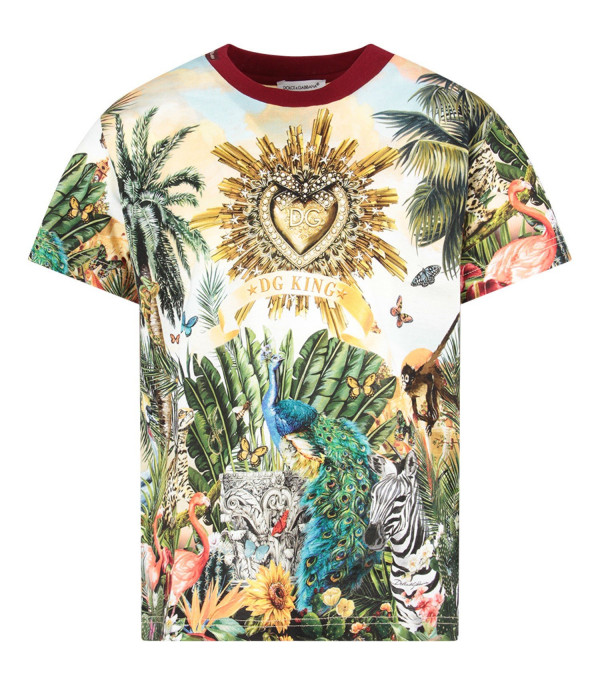 DOLCE & GABBANA KIDS Multicolor boy T-shirt with colorful ''Hawaii'' theme