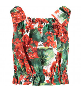 White girl top with red geranimus