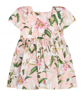 DOLCE & GABBANA KIDS White babygirl dress with white lilies