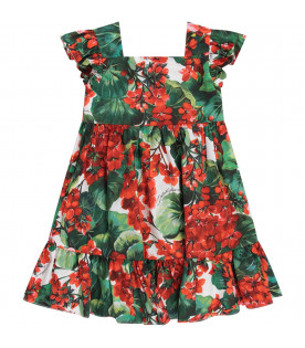 DOLCE & GABBANA KIDS White babygirl dress with red geraniums