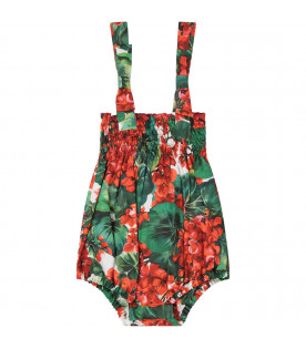 DOLCE & GABBANA KIDS White babygirl rompers with red geraniums