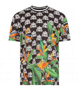 Black boy t-shirt with all-over logo and orange flowers