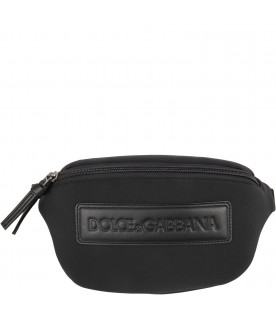 DOLCE & GABBANA KIDS Black boy bum bag with logo
