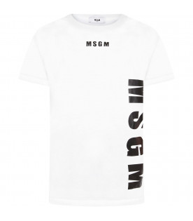 MSGM KIDS White boy T-shirt with rubbred logo