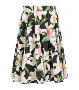 DOLCE & GABBANA KIDS Black girl skirt with white lilies