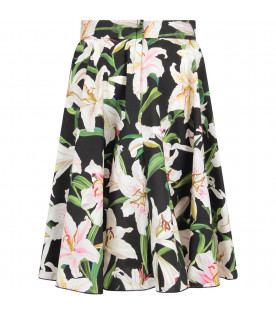 Black girl skirt with white lilies