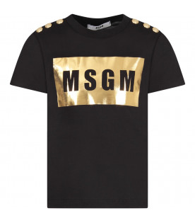 MSGM KIDS Black girl t-shirt with gold square and buttons