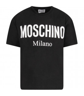 MOSCHINO KIDS Black boy T-shirt with white logo