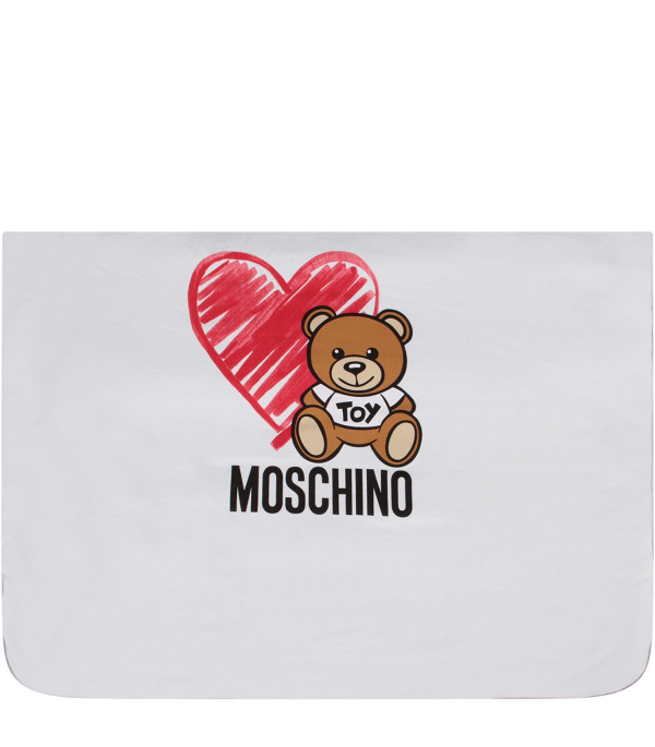 MOSCHINO KIDS Grey and white babykids blanket with Teddy bear and hearts