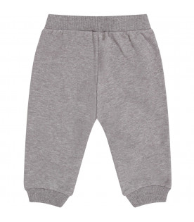 MOSCHINO KIDS Grey babykids sweatpant with iconic Teddy Bear