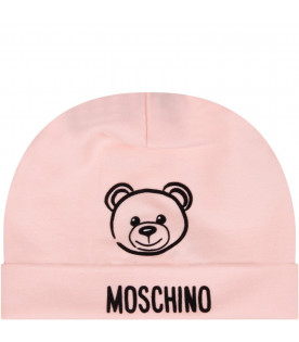 MOSCHINO KIDS Pink babygirl hat with Teddy Bear