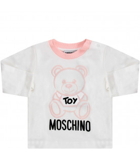 MOSCHINO KIDS White babygirl T-shirt with Teddy Bear
