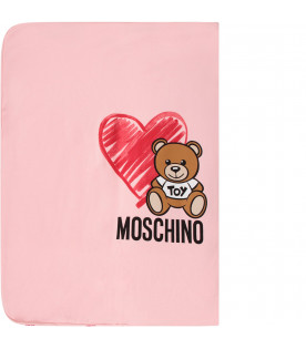 MOSCHINO KIDS Pink babygirl blanket with Teddy bear and hearts