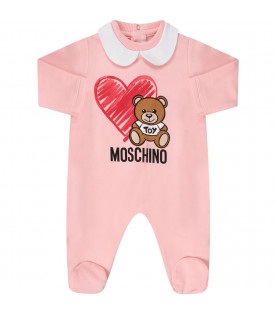 MOSCHINO KIDS Pink babygirl set with Teddy Bear and heart