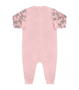 MOSCHINO KIDS Pink babygirl babygrow with black Teddu Bear