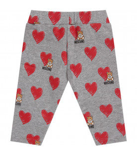 MOSCHINO KIDS Grey babygirl leggings with iconic Teddy Bear