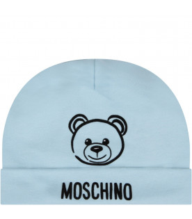 MOSCHINO KIDS Light blue babyboy hat with Teddy Bear