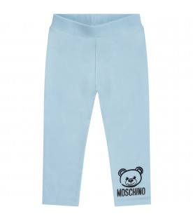 MOSCHINO KIDS Light blue babyboy sweatpant with black iconic Teddy Bear