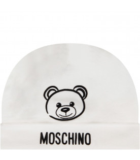 MOSCHINO KIDS White babyboy hat with Teddy Bear