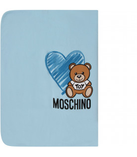 MOSCHINO KIDS Light blue babyboy blanket with Teddy bear and hearts