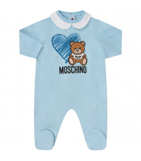 MOSCHINO KIDS Light blue babyboy set with Teddy Bear and heart