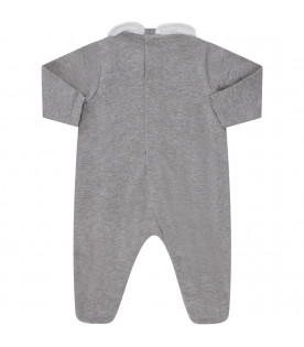 MOSCHINO KIDS Grey babyboy set with Teddy Bear and heart
