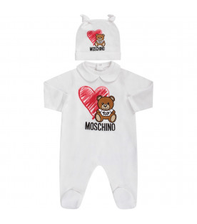 MOSCHINO KIDS White babyboy set with Teddy Bear and heart