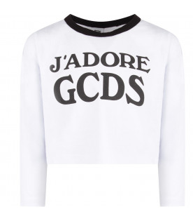 GCDS KIDS White girl T-shirt with black logo