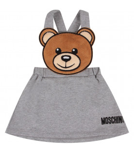 MOSCHINO KIDS Grey babygirl overall with black logo