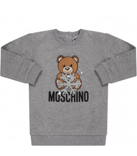 MOSCHINO KIDS Grey babygir dress with Teddy Bear and snowflak