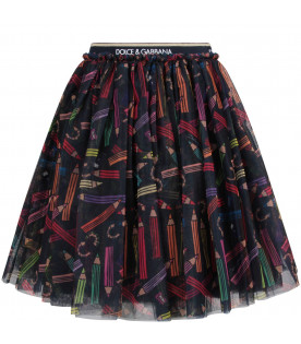 DOLCE & GABBANA KIDS Black girl skirt with colorful pencils
