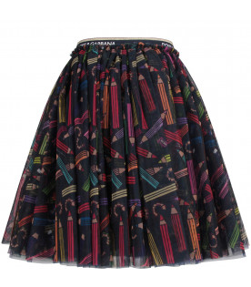 Black girl skirt with colorful pencils
