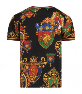 DOLCE & GABBANA KIDS Black boy T-shirt with colorful badges