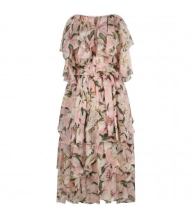 DOLCE & GABBANA KIDS Pink girl dress with  white lilies