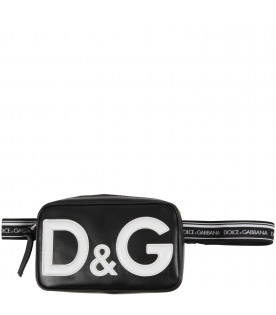 DOLCE & GABBANA KIDS Black kids bum bag with white logo