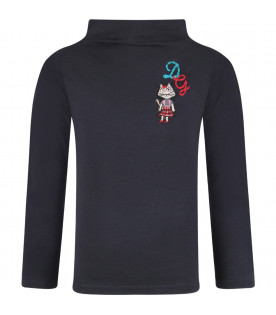 Blue girl T-shirt with light blue and red logo
