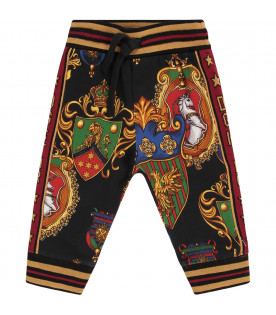 DOLCE & GABBANA KIDS Black babyboy sweatpants with colorful badges