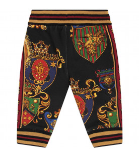 Black babyboy sweatpants with colorful badges