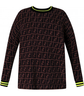 FENDI KIDS Brown girl sweatshirt with iconic double FF