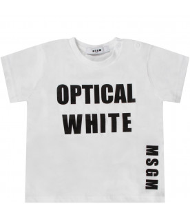 MSGM KIDS White babygirl T-shirt with black logo and writing