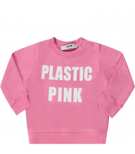 dc144bd57 MSGM KIDS Pink babygirl sweatshirt with white logo and writing ...