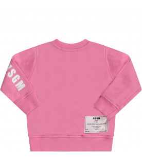 MSGM KIDS Pink babygirl sweatshirt with white logo and writing