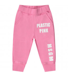 MSGM KIDS Pink babygirl sweatpant with white lgoo and writing
