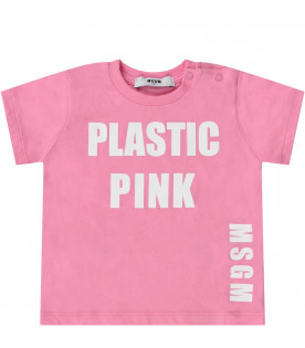 MSGM KIDS Pink babygirl T-shirt with white logo and writing