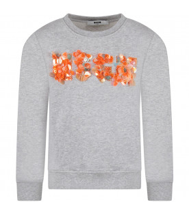 MSGM KIDS Grey girl sweatshirt with colorful logo