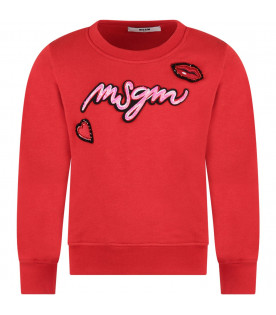 MSGM KIDS Red girl sweatshirt with colorful patch and logo