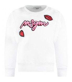MSGM KIDS White girl sweatshirt with colorful patch and logo