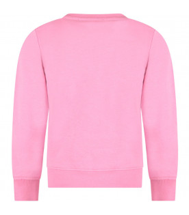 MSGM KIDS Pink girl sweatshirt with colorful patch and logo